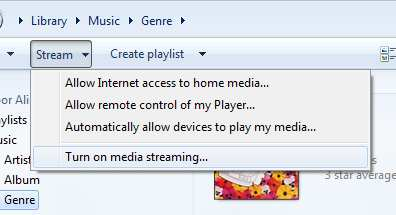 In Windows Media Player, click on the Stream button 4.