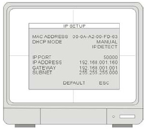 Appendix #1 - Setting up Remote Viewing IP & MAC Address 1. Access the Main Menu Setup screens, and navigate to the SYSTEM MENU - EXTERNAL DEVICE - TCP/IP SETUP - IP SETUP option. 2.