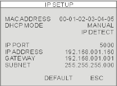 Confirm that the DHCP MODE is set to AUTOMATIC. This will allow your system to lease an IP ADDRESS from your router.