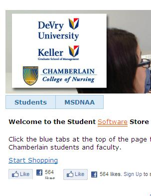 STEP 4: Click on the Go to the Student Software Store link.