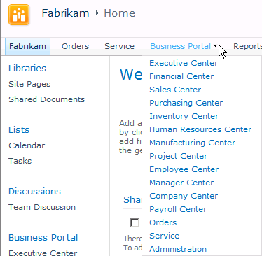 CHAPTER 1 BUSINESS PORTAL CONCEPTS A Business Portal item appears in the top level of the menu. When you hold the mouse pointer over the Business Portal heading, links to center sites are displayed.