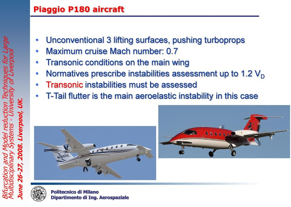 7 Transonic conditions on the main wing Normatives prescribe instabilities