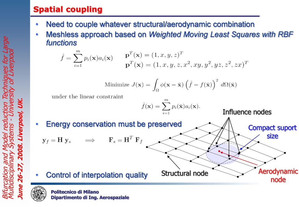 with RBF functions Energy conservation must be preserved Influence nodes