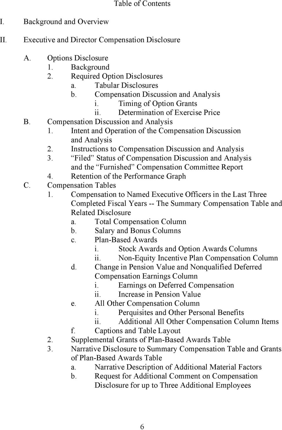 Intent and Operation of the Compensation Discussion and Analysis 2. Instructions to Compensation Discussion and Analysis 3.