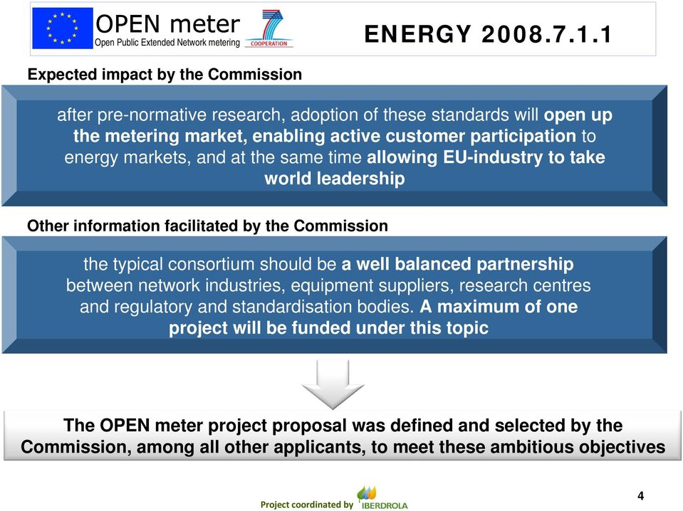 energy markets, and at the same time allowing EU-industry to take world leadership Other information facilitated by the Commission the typical consortium should be a well