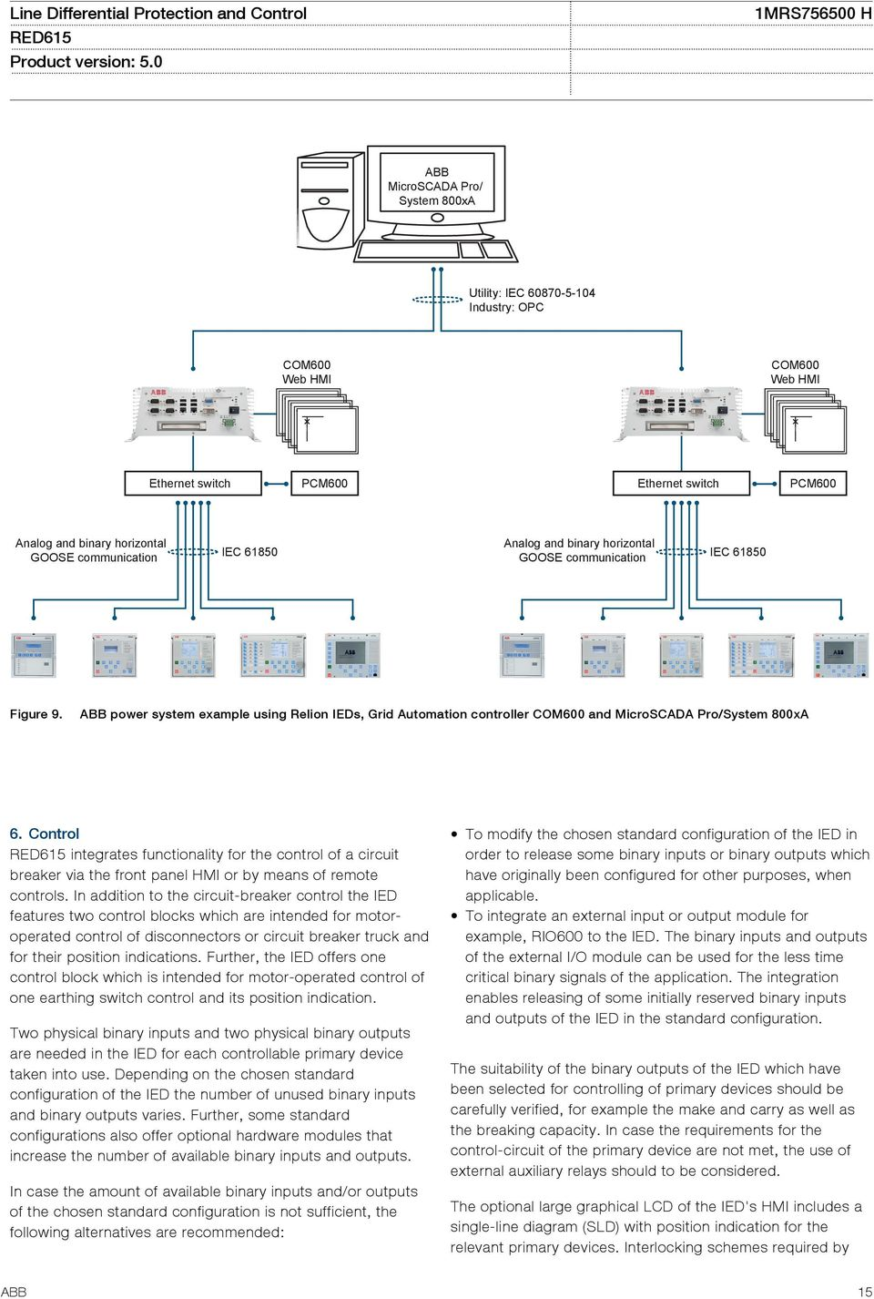 ABB power system example using Relion IEDs, Grid Automation controller COM600 and MicroSCADA Pro/System 800xA 6.