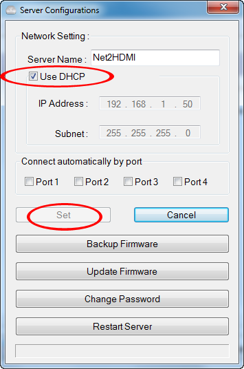 7. If DHCP (automatic IP) is available on the network, no configuration should be required.