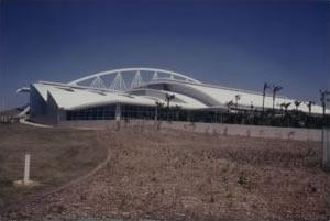 The Olympic Stadium used to stage the Montreal Games of 1976. The Olympic facilities at Maisonneuve Park were designed ambitiously by French architect, Roger Taillibert.