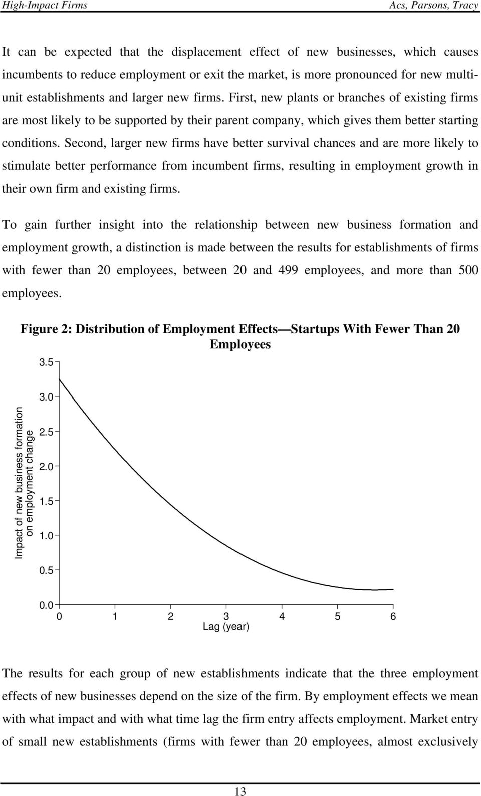 Second, larger new firms have better survival chances and are more likely to stimulate better performance from incumbent firms, resulting in employment growth in their own firm and existing firms.