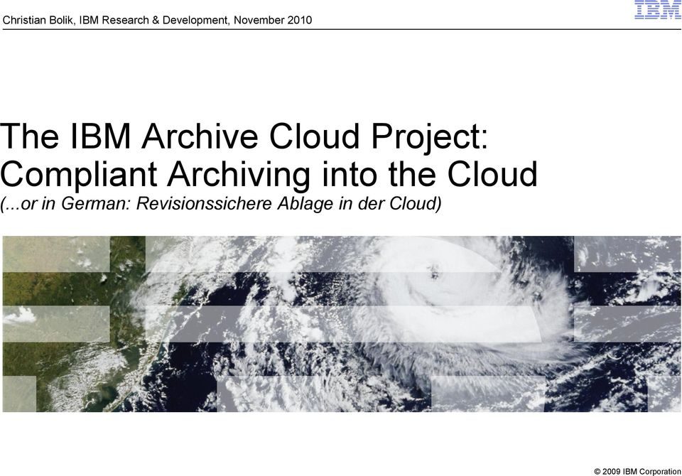 Compliant Archiving into the Cloud (.