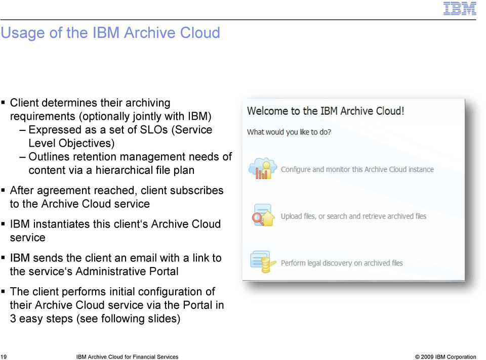 service IBM instantiates this client s Archive Cloud service IBM sends the client an email with a link to the service s Administrative Portal The client