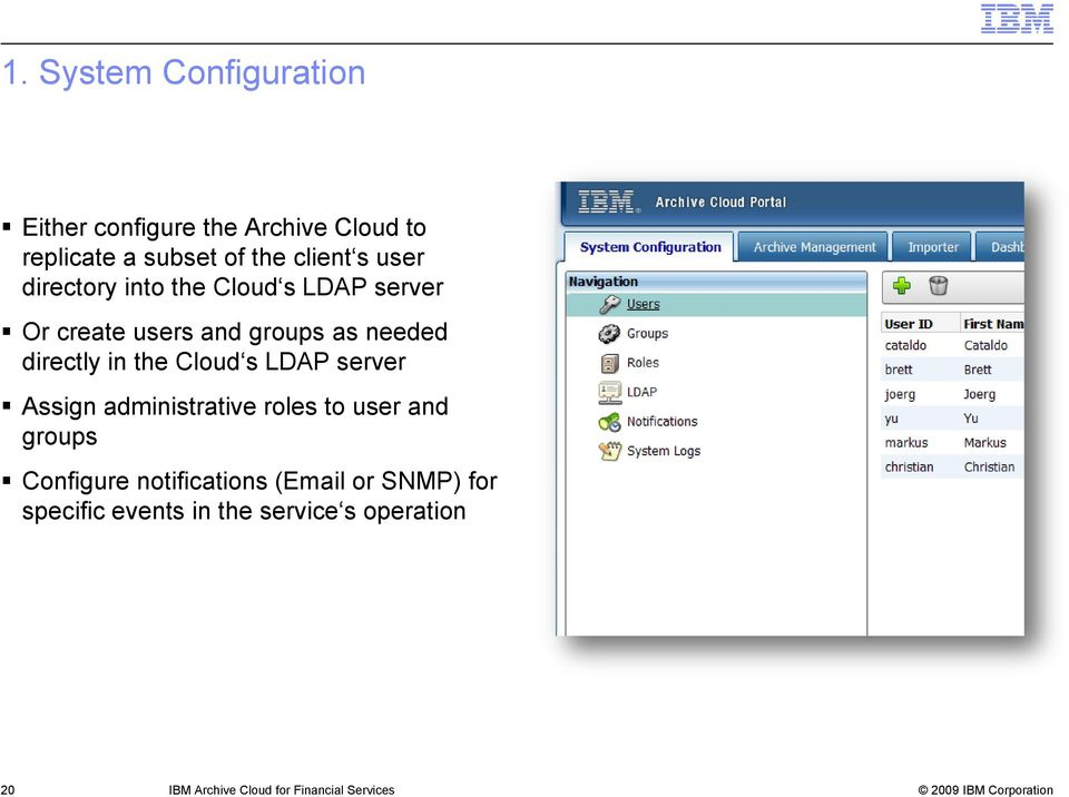 Cloud s LDAP server Assign administrative roles to user and groups Configure notifications (Email