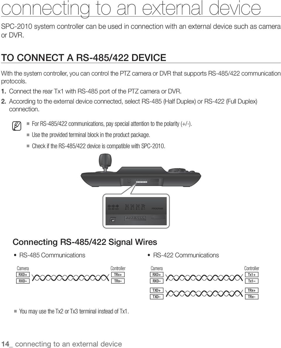 Connect the rear Tx1 with RS-485 port of the PTZ camera or DVR. 2. According to the external device connected, select RS-485 (Half Duplex) or RS-422 (Full Duplex) connection.