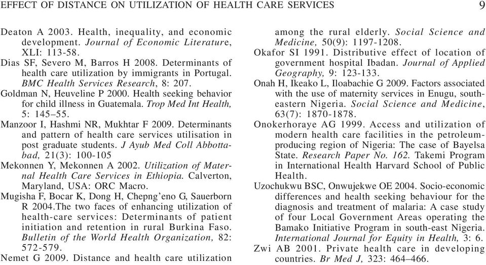Trop Med Int Health, 5: 145 55. Manzoor I, Hashmi NR, Mukhtar F 2009. Determinants and pattern of health care services utilisation in post graduate students.