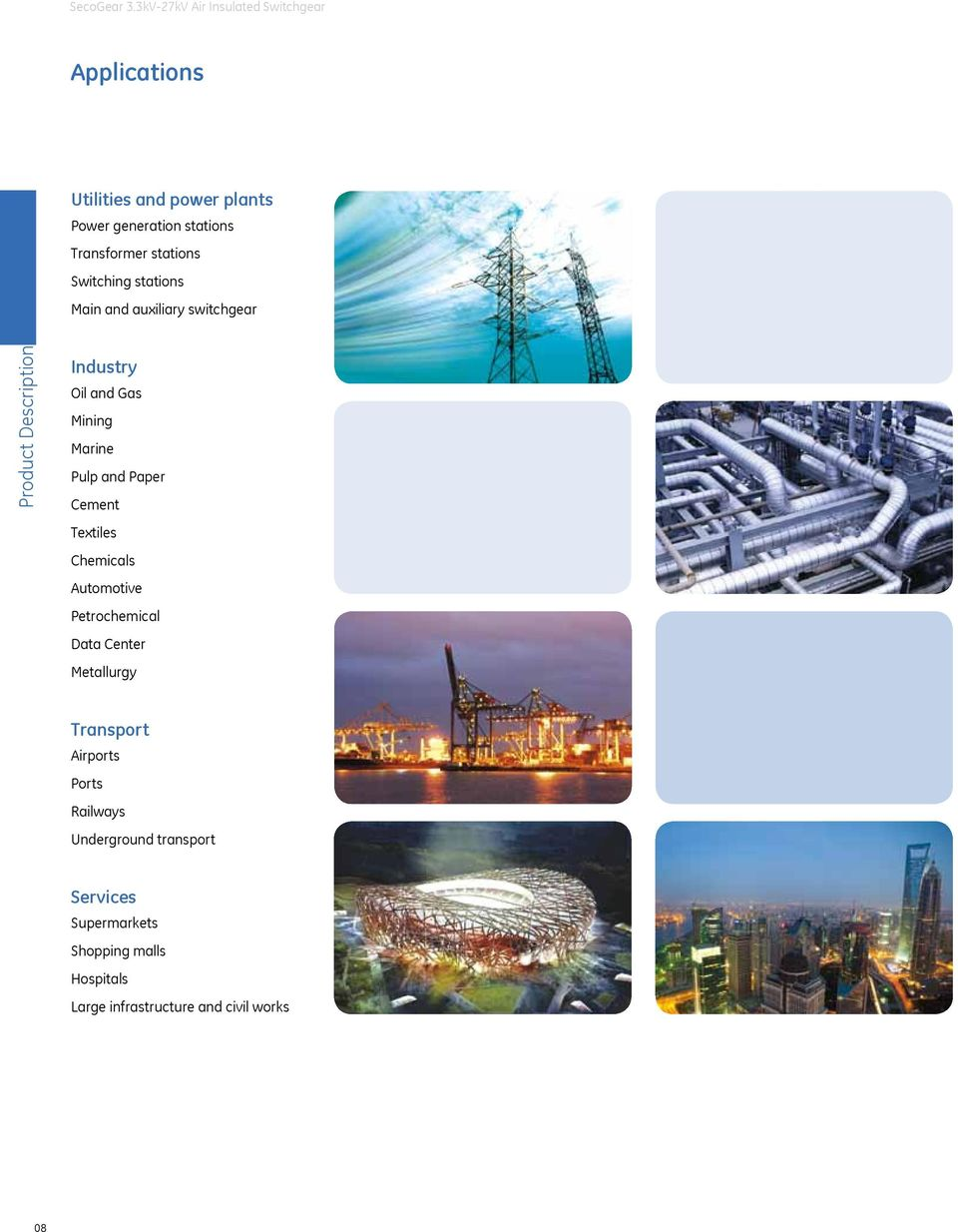 Cement Textiles Chemicals Automotive Petrochemical Data Center Metallurgy Transport Airports Ports