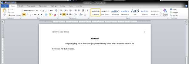 A Guide on How To Use APA Style Formatting with Microsoft Word 2010 24 Your abstract, then, is formatted this way: 1.