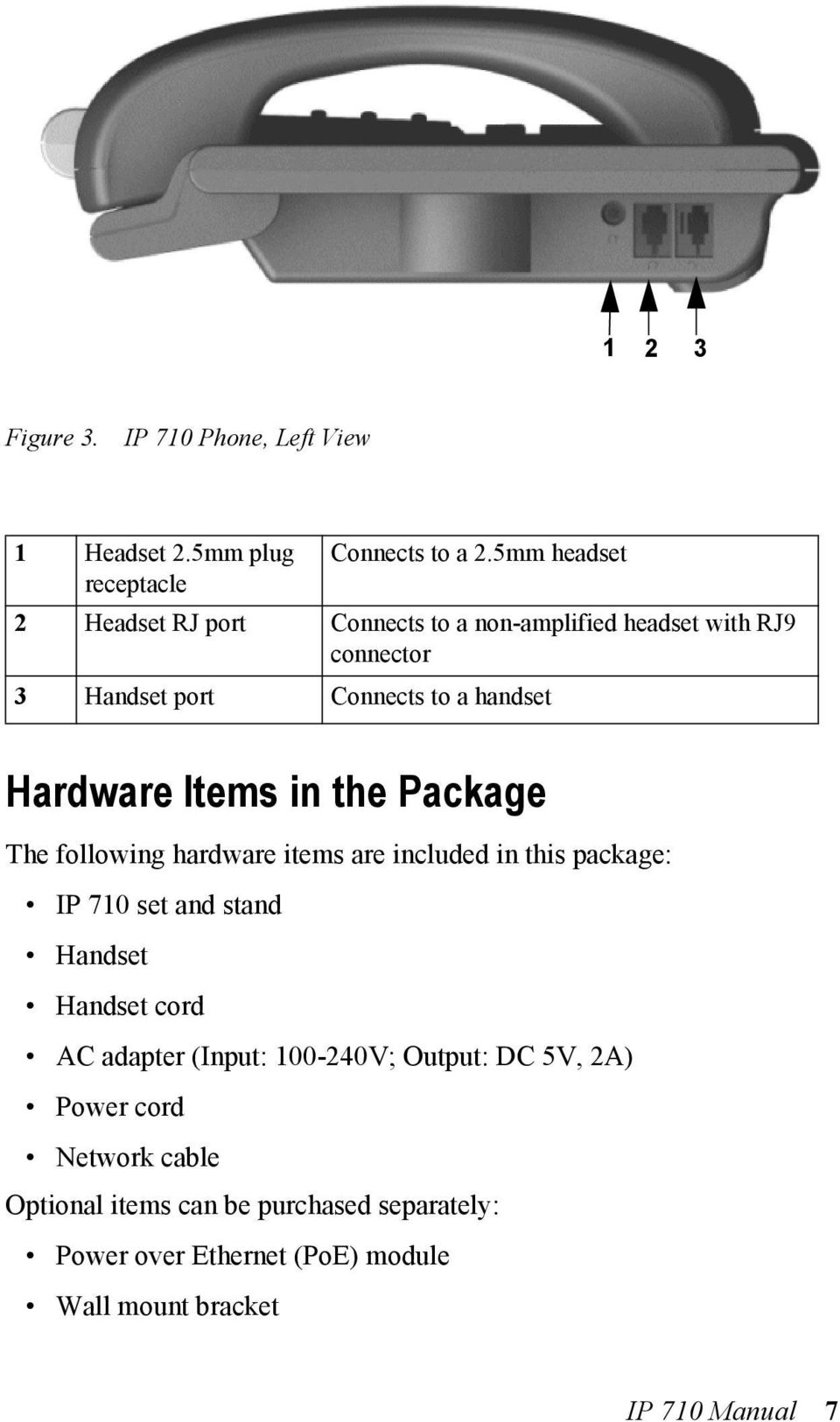 handset Hardware Items in the Package The following hardware items are included in this package: IP 710 set and stand Handset