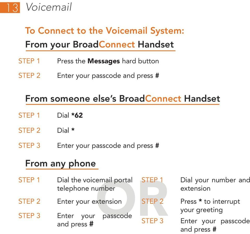 and press # From any phone OR Enter your extension Dial the voicemail portal telephone number Enter your