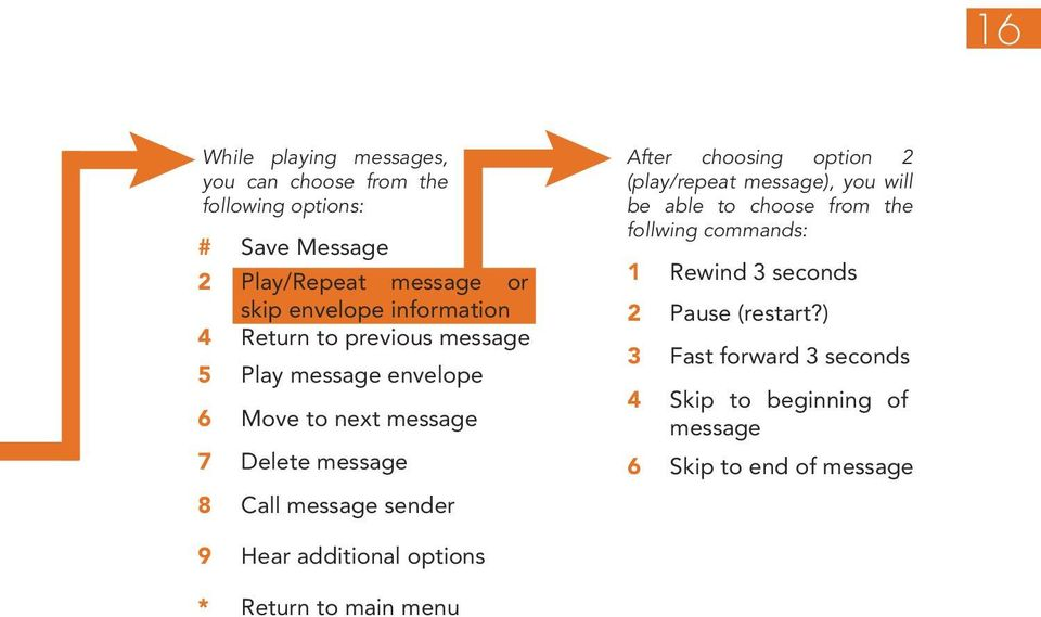 After choosing option 2 (play/repeat message), you will be able to choose from the follwing commands: 1 Rewind 3 seconds 2 Pause