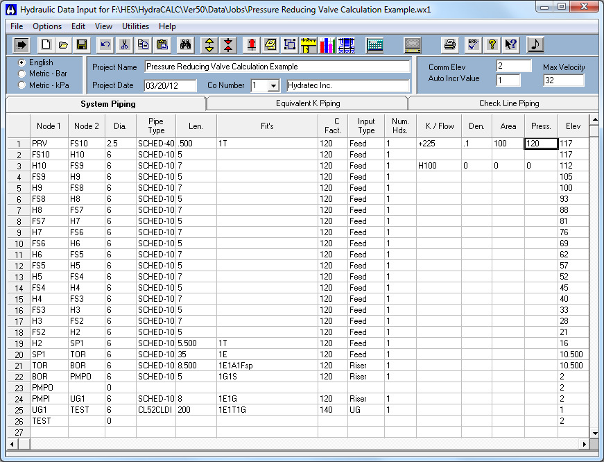 This is the Initial Input Screen used to calculate the maximum residual pressure available at the demand flow on the supply side of each PRV at all levels.