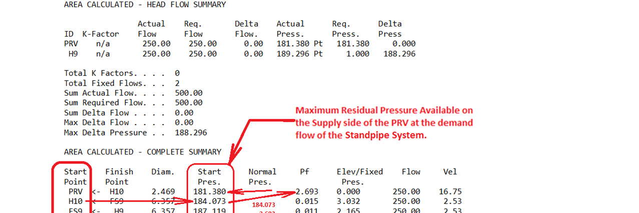The maximum residual pressure available at the Standpipe demand at the 10th Floor Hose PRV is shown below.