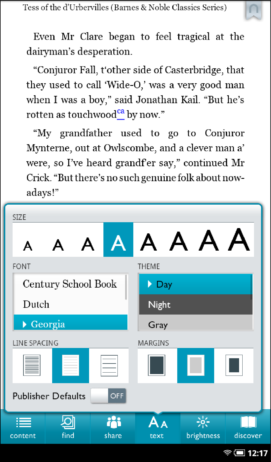 The picture below shows the Text controls available for books. The text control tools.
