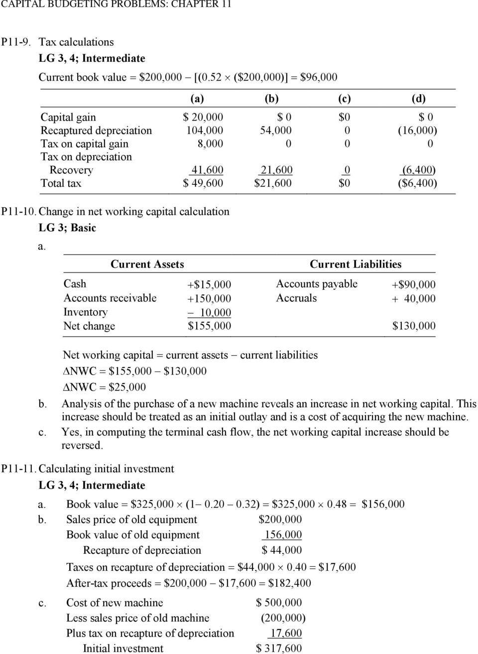(6,400) Total tax $ 49,600 $21,600 $0 ($6,400) P11-10. Change in net working capital calculation LG 3; Basic a.