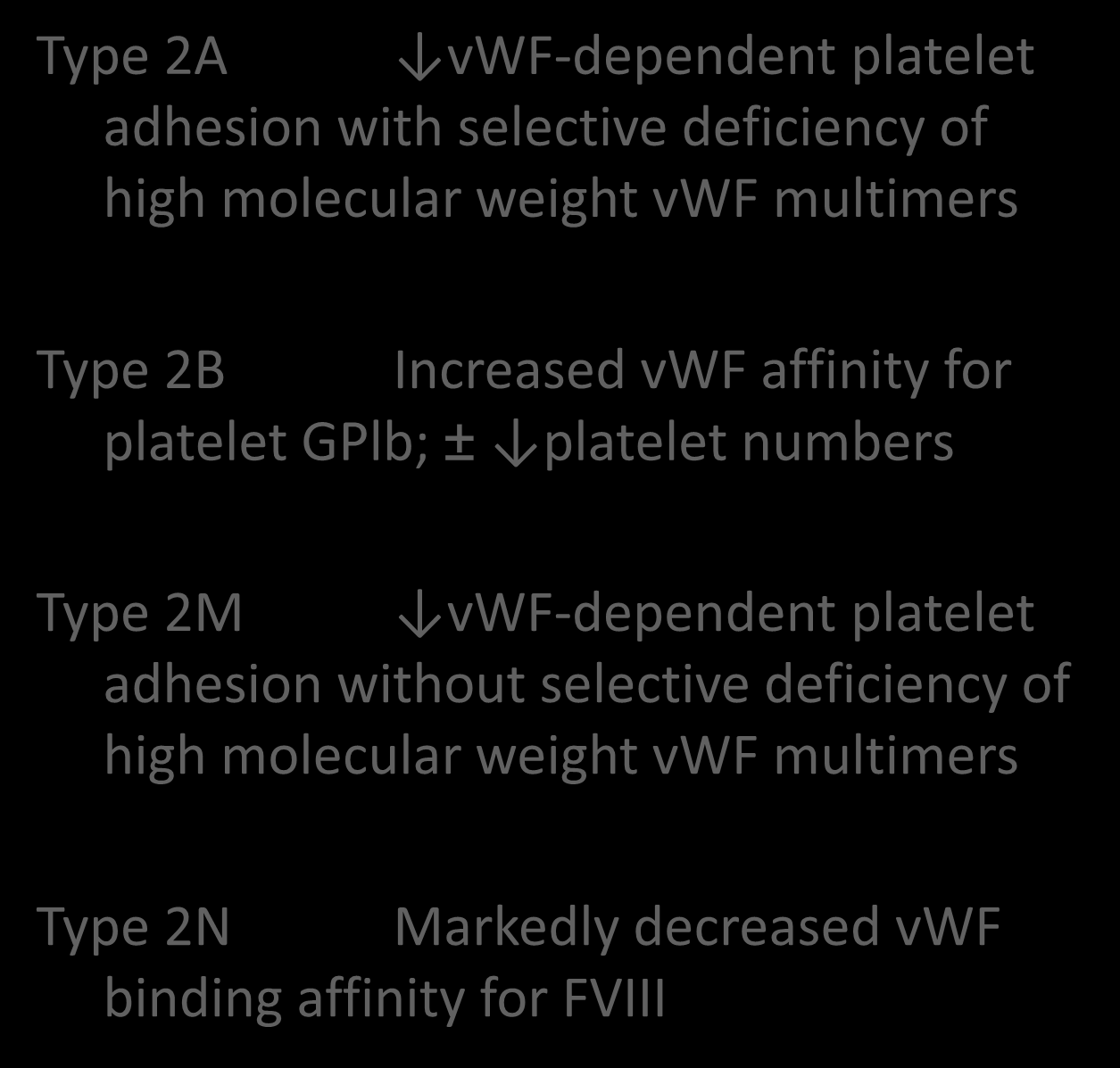 vwd Classification Type 2A vwf-dependent platelet adhesion with selective deficiency of high molecular weight vwf multimers Type 2B Increased vwf affinity for platelet GPlb; ±