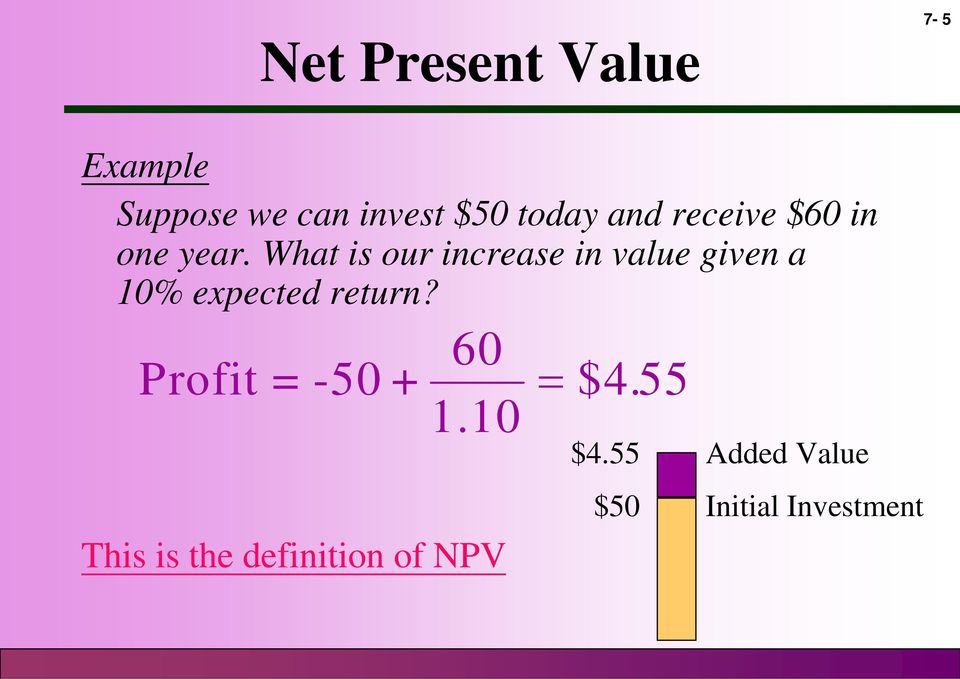 What is our increase in value given a 10% expected return?
