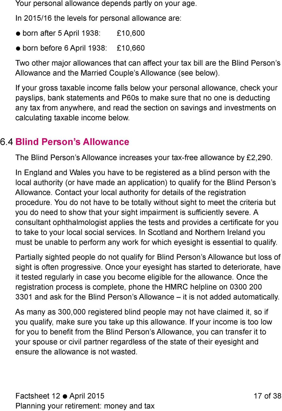 Allowance and the Married Couple s Allowance (see below).