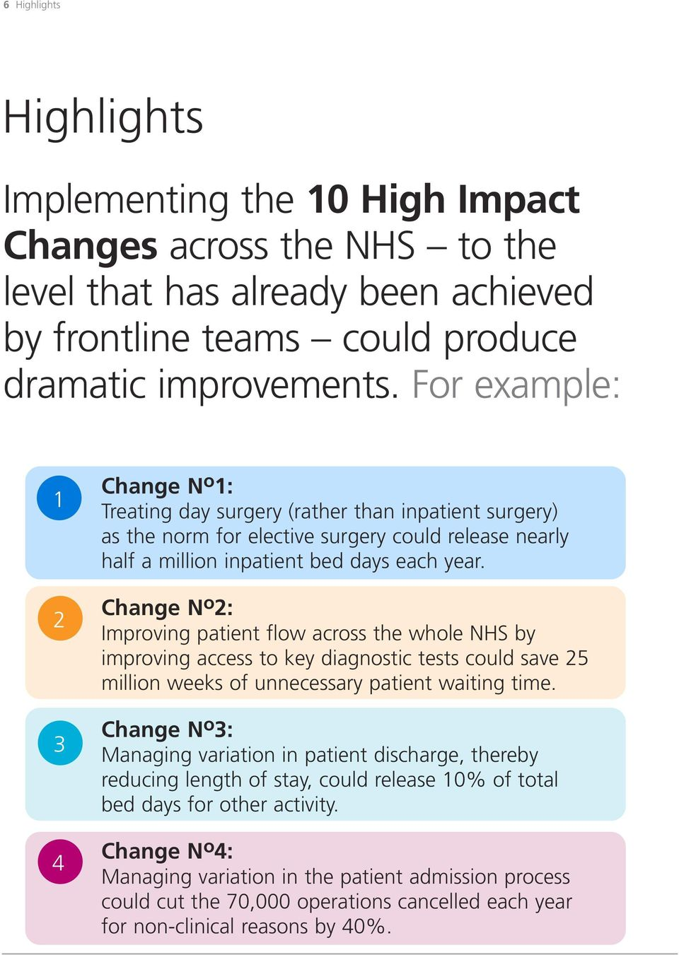 Change N o 2: Improving patient flow across the whole NHS by improving access to key diagnostic tests could save 25 million weeks of unnecessary patient waiting time.