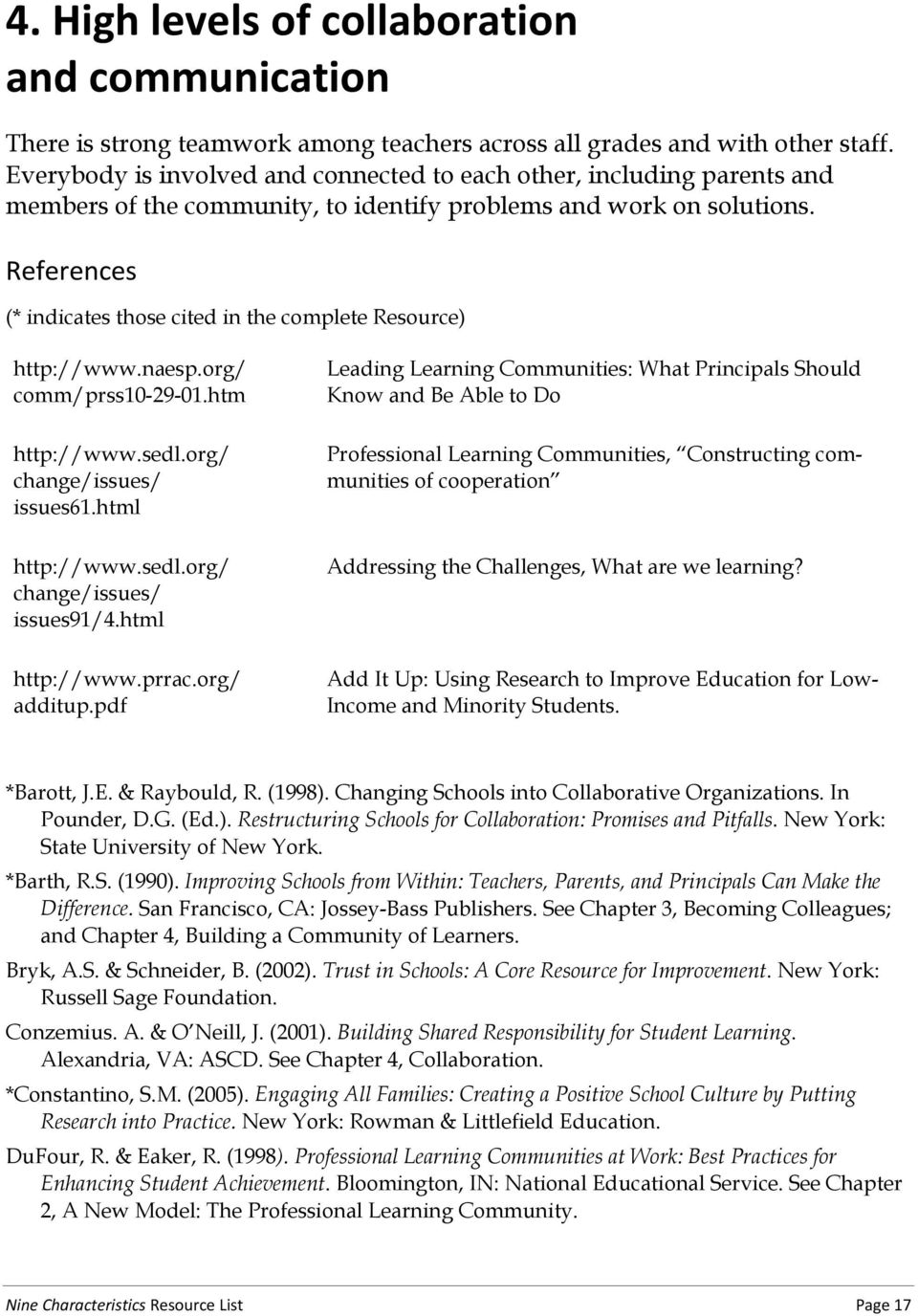 References (* indicates those cited in the complete Resource) http://www.naesp.org/ comm/prss10-29-01.htm http://www.sedl.org/ change/issues/ issues61.html http://www.sedl.org/ change/issues/ issues91/4.