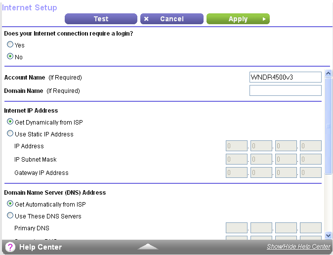 Manually Set Up the Internet Connection You can view or change the router s Internet connection settings. Specify an Internet Connection Without a Login To specify the Internet connection settings: 2.