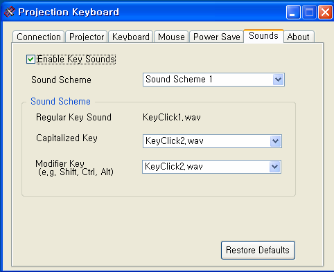 Figure 5.6 5.6. Sound Control: User can Enable/Disable the Sound by checking the Enable Key Sounds check box.