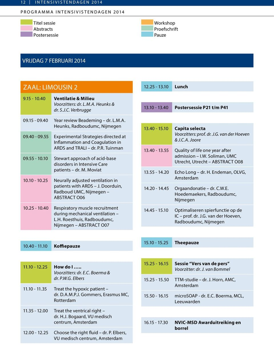 55 Experimental Strategies directed at Inflammation and Coagulation in ARDS and TRALI dr. P.R. Tuinman 09.55-10.10 Stewart approach of acid-base disorders in Intensive Care patients dr. M. Moviat 10.