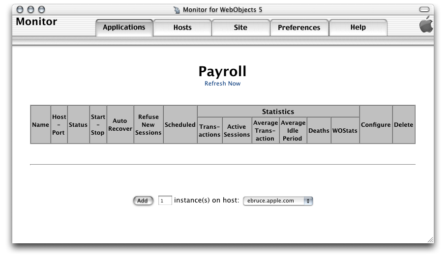 CHAPTER 5 Deployment Tasks 1. In JavaMonitor, click the Applications tab. The Applications page is displayed, as shown in Figure 5-11. Figure 5-11 The Applications page with one application 2.