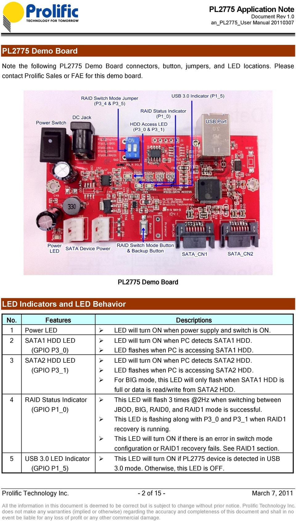 (GPIO P3_0) LED flashes when PC is accessing SATA1 HDD. 3 SATA2 HDD LED LED will turn ON when PC detects SATA2 HDD. (GPIO P3_1) LED flashes when PC is accessing SATA2 HDD.