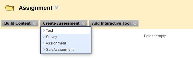 2. At the top of the Assignments Page you will see a button for Create Assessment.
