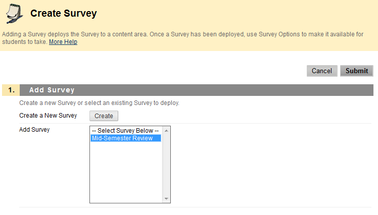 You are now on the Create Survey Page. You will have an option to Create a New Survey or Add Survey.