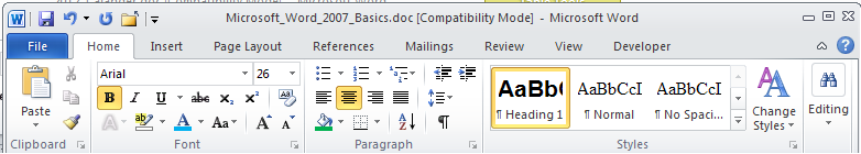 Microsoft Word 2010 Basics 1. Start Word if the Word 2007 icon is not on the desktop: a. Click Start>Programs>Microsoft Office>Microsoft Word 2007 b. The Ribbon- seen across the top of Microsoft Word.