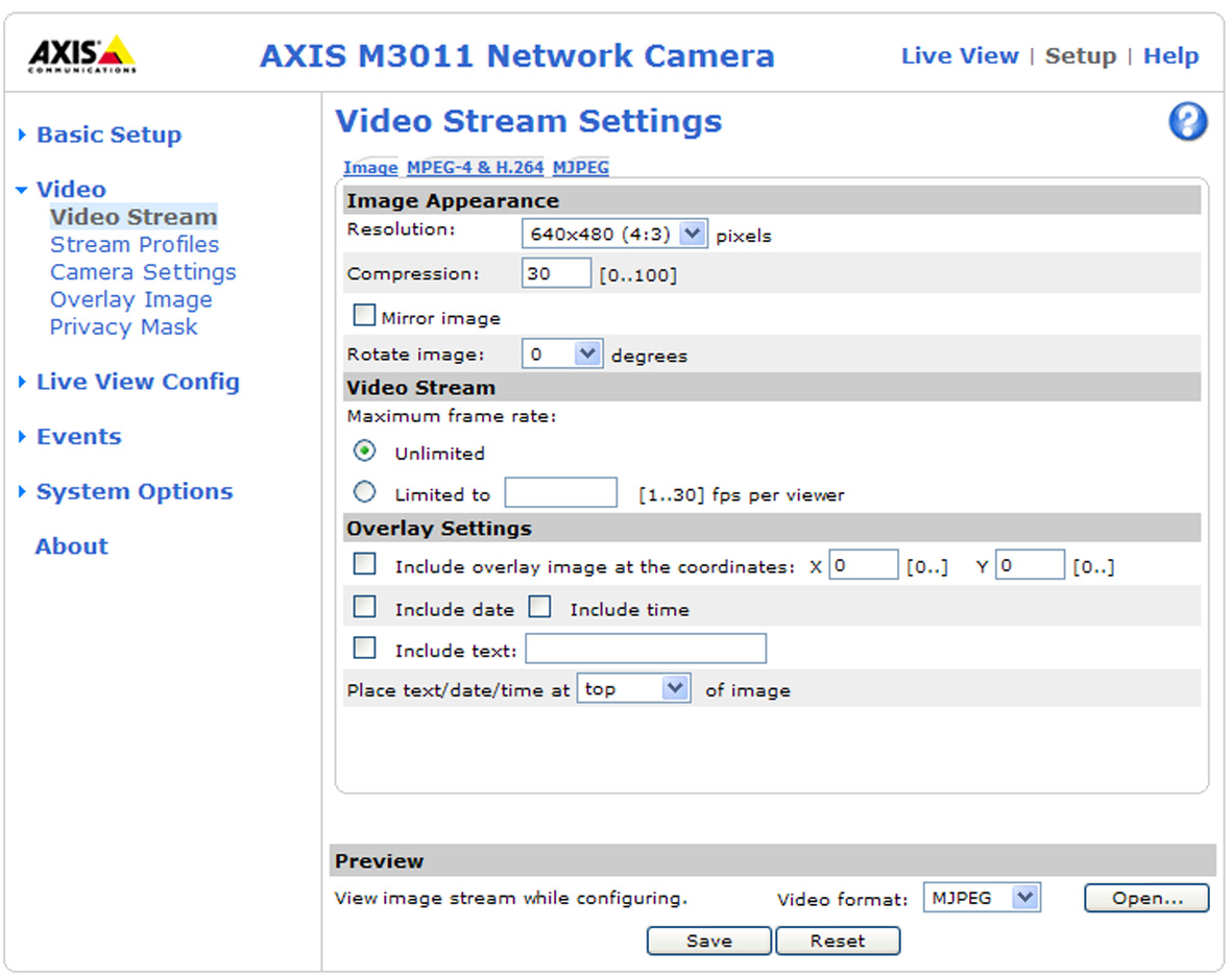 AXIS M3011 - Video Video This section describes how to configure the camera, and is intended for product Administrators, who have unrestricted access to all settings; and Operators, who have access