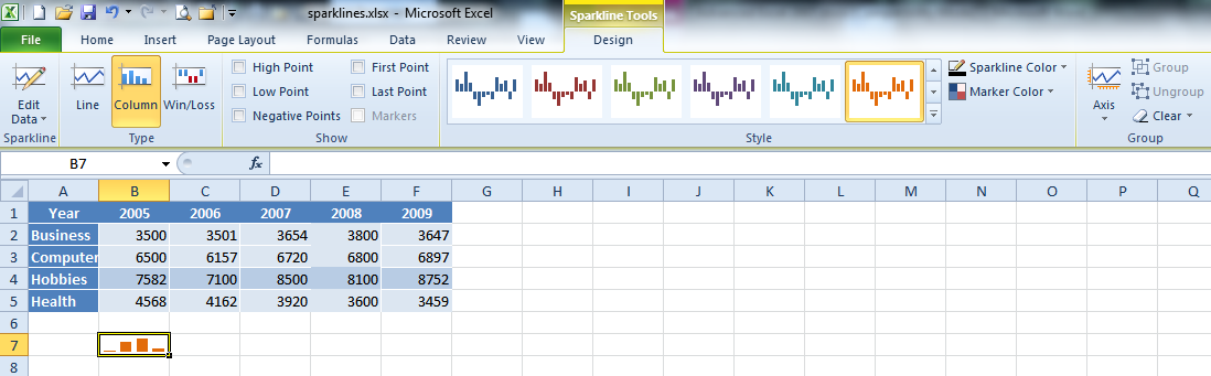 SPARKLINES Sparklines are new to Excel 2010. They are small, cell-sized charts that can appear within a worksheet, graphically depicting selected data.