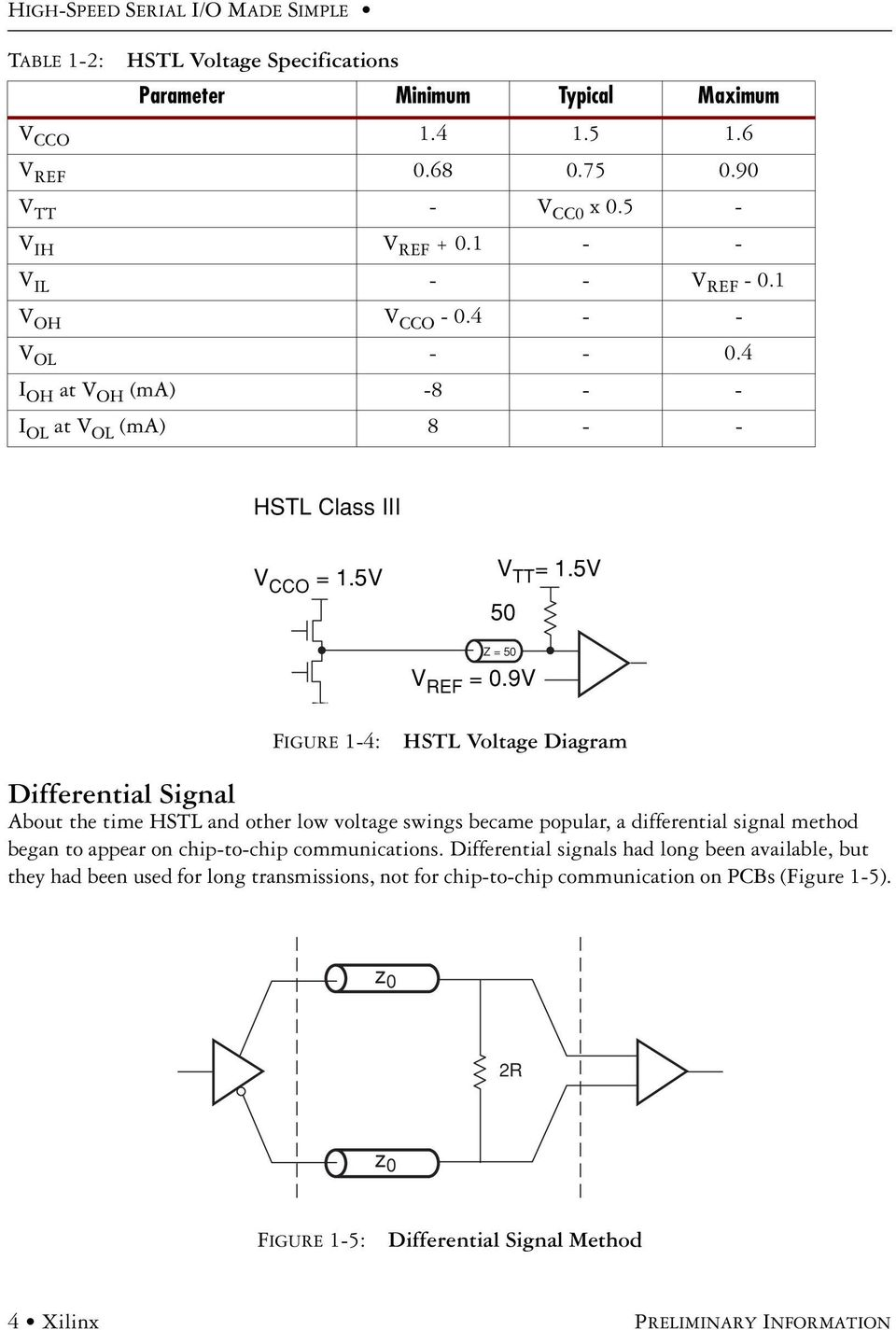 9V FIGURE 1-4: HSTL Voltage Diagram Differential Signal About the time HSTL and other low voltage swings became popular, a differential signal method began to appear on chip-to-chip
