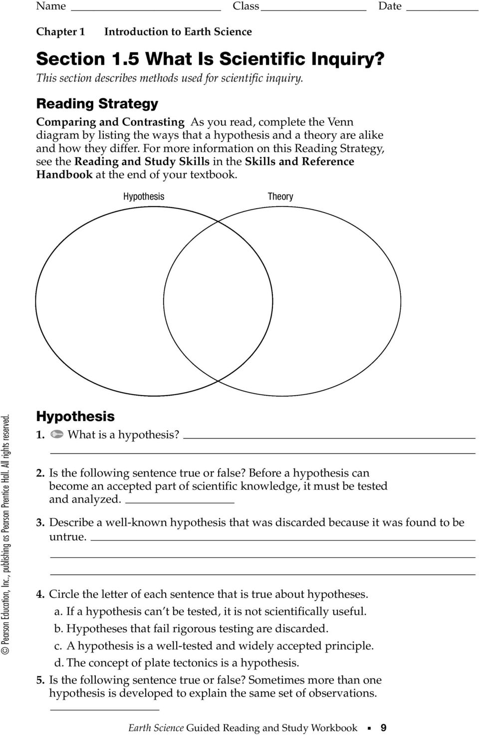 Hypothesis Vs Theory Venn Diagram Logic Section 1 What Is Earth Science This Explains