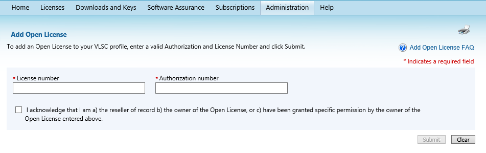 16 Microsoft Volume Licensing Service Center: Getting Started and Administration NOTE: This feature is designed as an alternative for resellers who have been authorized to manage licenses on behalf