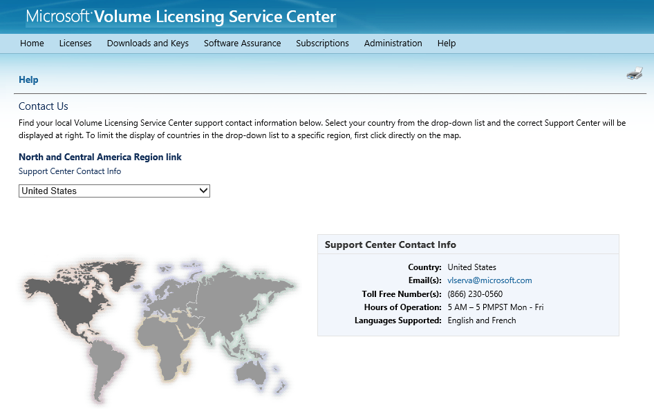 18 Microsoft Volume Licensing Service Center: Getting Started and Administration Getting help Select the Help link on the main navigation bar to view a drop-down menu with two options: See FAQ