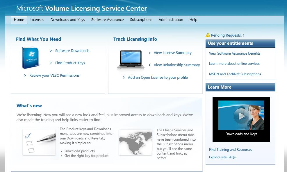 training resources View news or updates regarding the Volume Licensing Service Center The menu options and notifications that you can view depend on your user role.