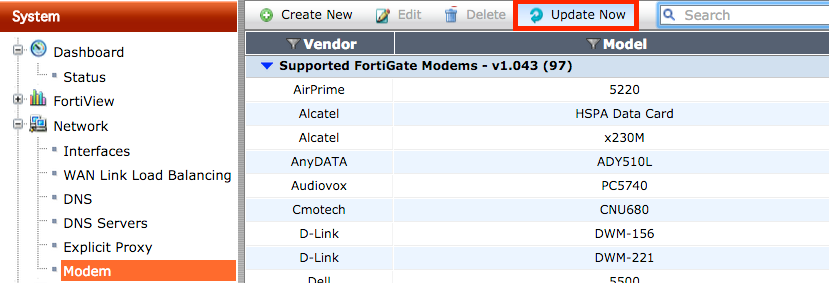 FortiGate Modem Compatibility Matrix The list of supported modems below depends on the modem database version and not on the version of FortiOS.