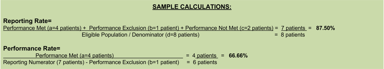 b. Reporting Met and Performance Exclusion letter is represented in the Reporting Rate and Performance Rate in the Sample Calculation listed at the end of this document.