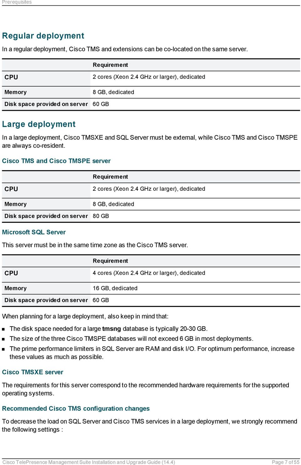 Cisco TMS and Cisco TMSPE server Requirement CPU Memory Disk space provided on server 2 cores (Xeon 2.